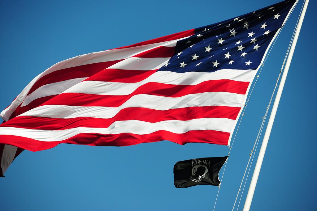 USA and POW Flag